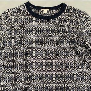 Navy Gap Wool Blend Winter Snowflake Sweater